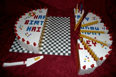 LEGO Birthday Cake with Six Cut Pieces